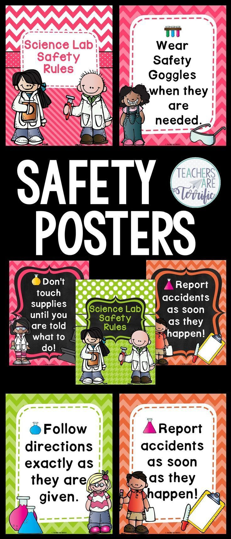 Science Safety Rules Posters in Pink, Orange and Lime