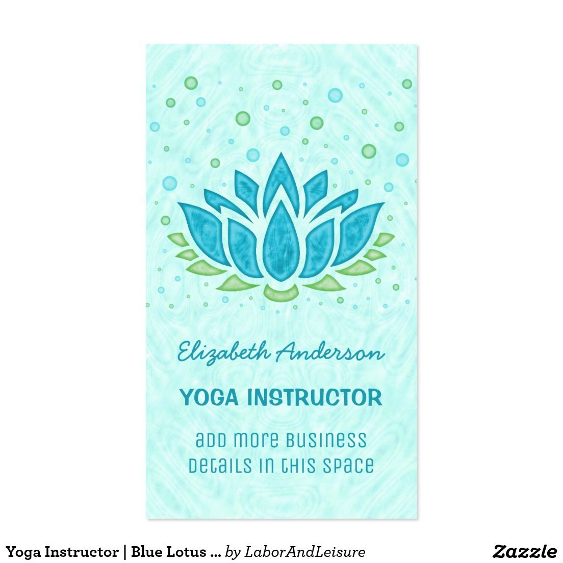 Yoga Instructor | Blue Lotus Flower Zen Meditation Business Card ...