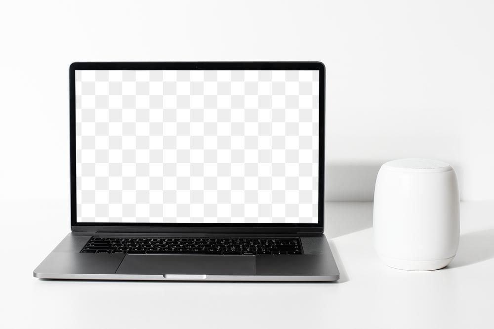 Laptop Png Screen Mockup With Smart Speaker Free Image By Rawpixel Com Roungroat In 2021 Smart Speaker Design Resources Png