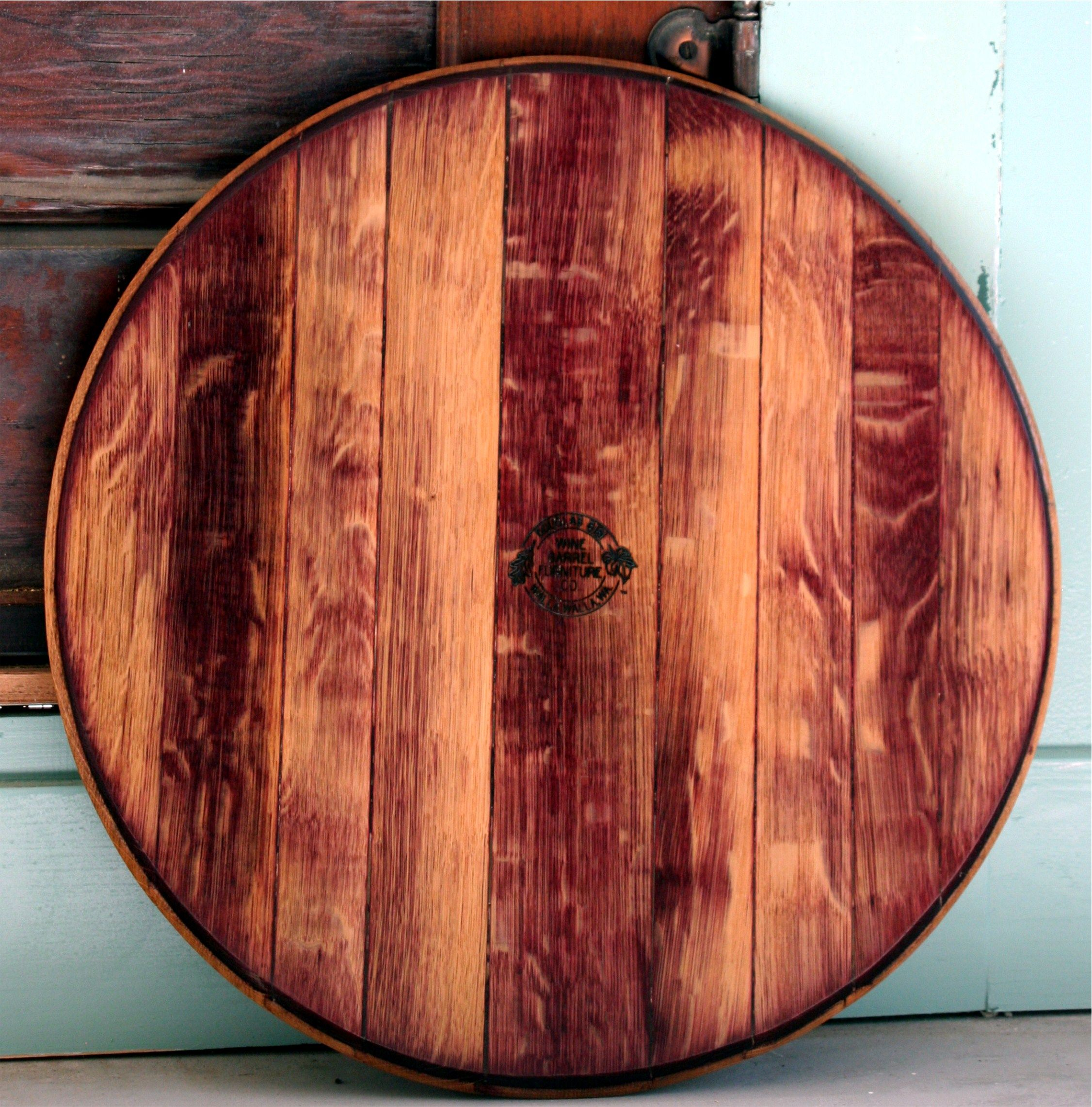 Oak Wine Barrel Head Lazy Susan Featuring The Beautiful Stained Purple Furniture