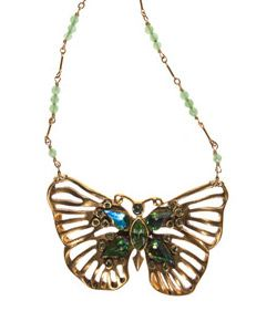 """Circa 1930, Austrian Crystal Butterfly in Brass on Aventurine on gold filled chain. Necklace length 17 1/2"""" inches. Pendent length 2 1/2"""" inch. Pendent width 1 1/2"""" inch. Lobster clasp. Made in USA.  www.thesagelifestyle.com"""