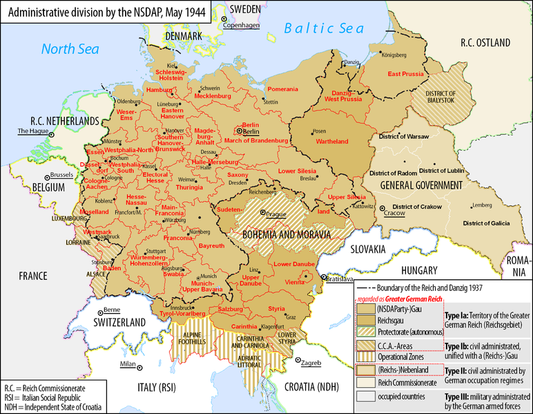 Map of the administrative division of the Greater German Reich