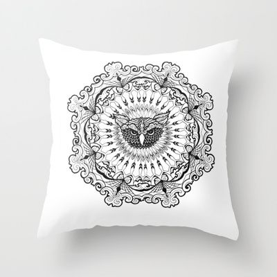 Owl Mandala Throw Pillow by brittbolduc - $20.00