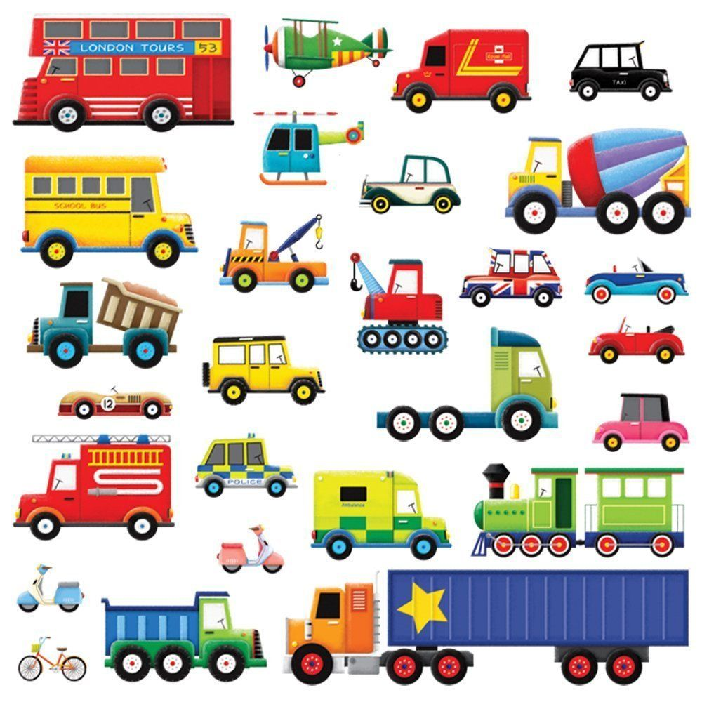 Decowall 27 Transports Peel And Stick Nursery Kids Wall Decals Stickers