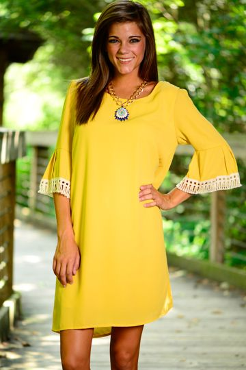 yellow bell sleeve dress   Summer dresses with sleeves