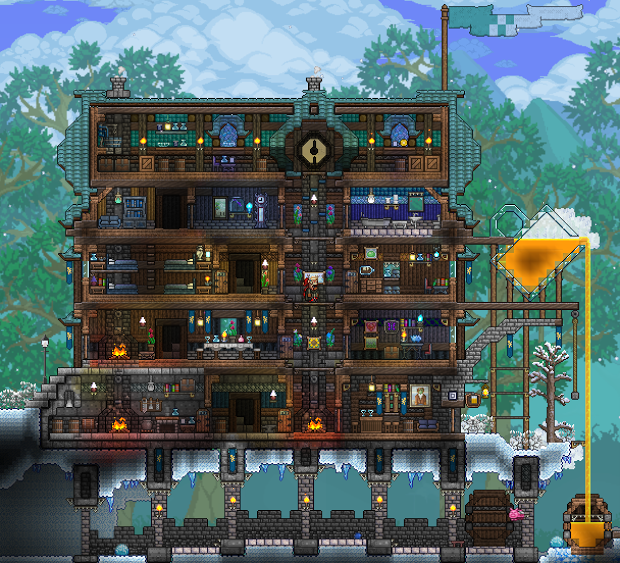 Bar And Inn Terraria Npc Hotel Like The Use Of Cloud Walls And