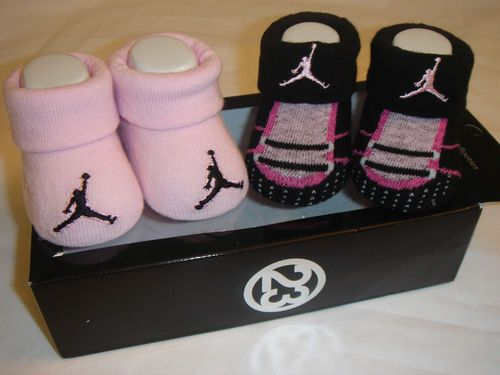 Nike Air Jordan Baby Infant Girls Crib Shoes Booties Socks 0 6 M Newborn  New  76a9085b0aa