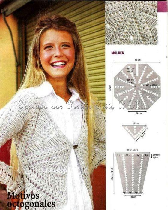Patrones Crochet: Chaquetas   Crochet women\'s tops!   Pinterest ...