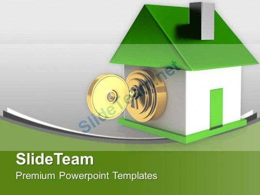 Green House With Security Key Safety Powerpoint Templates Ppt Themes