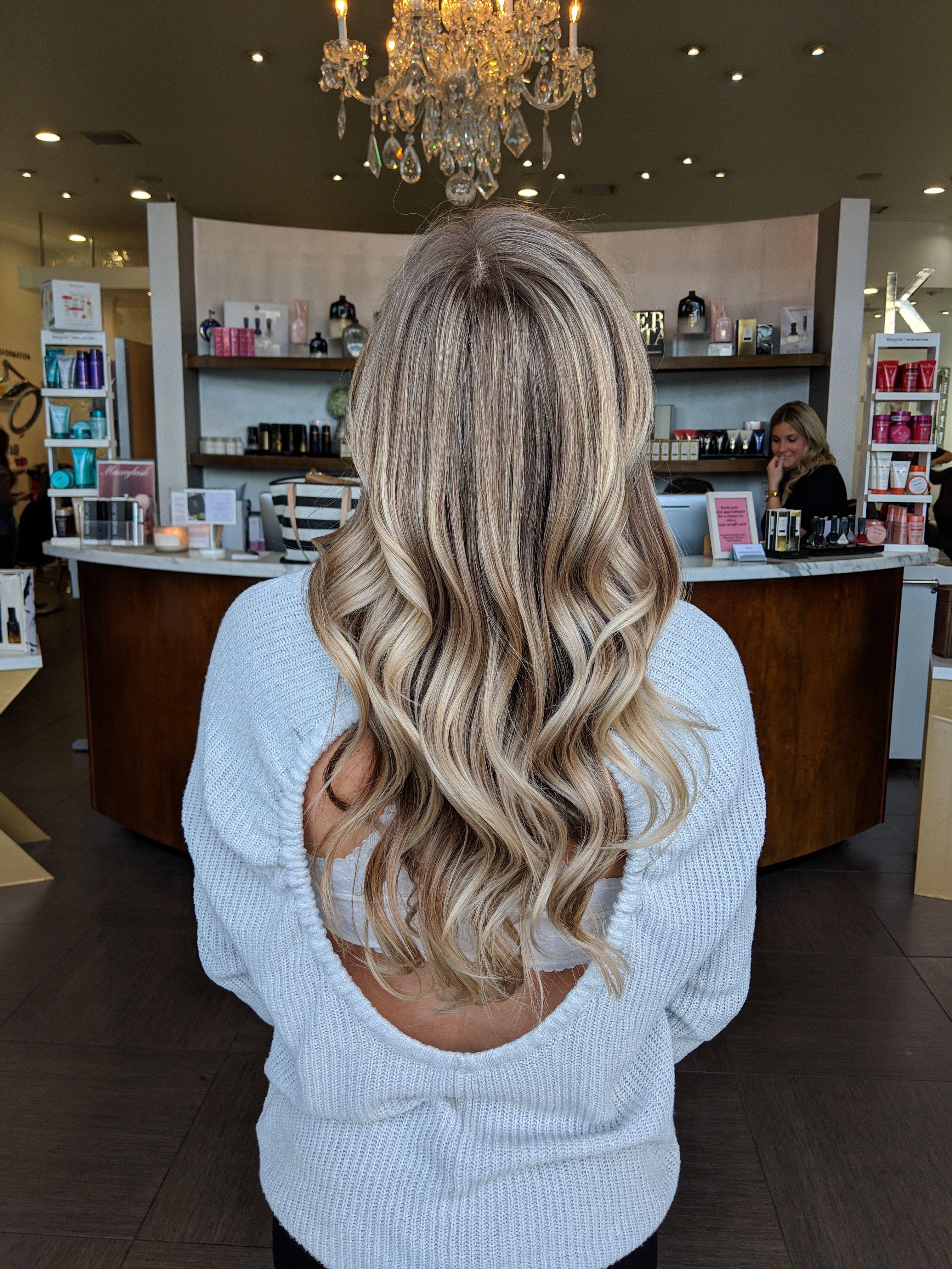 Blonde balayage with waves Blonde balayage, Hair