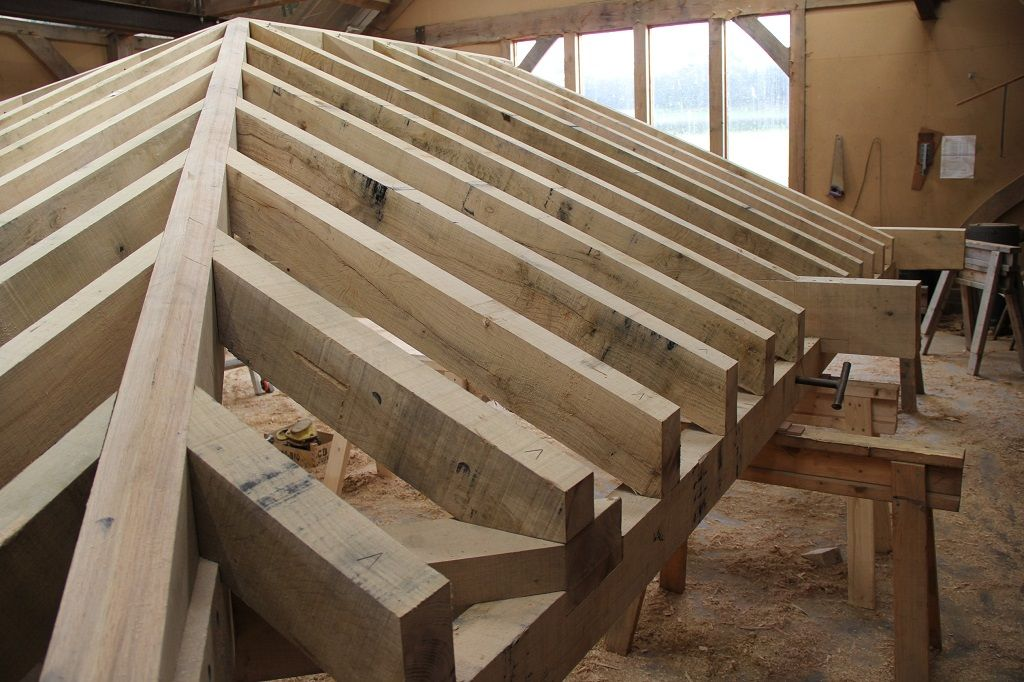 Hips and jack rafters #timberframe in the workshop at Castle Ring ...