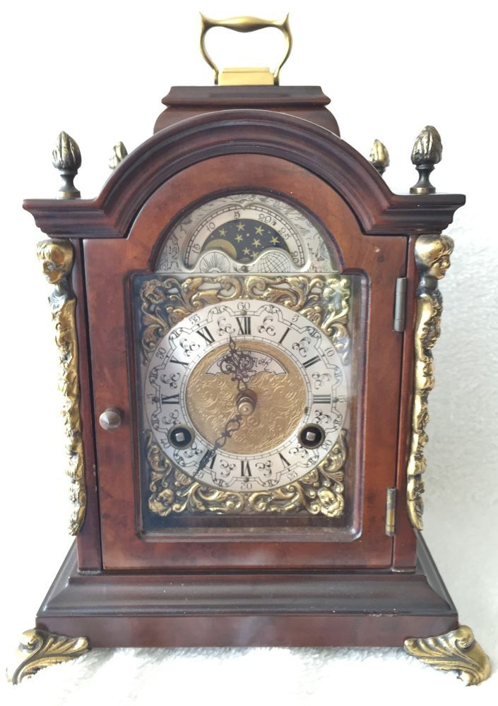 Last day on eBay this old Rare Warmink Pendulum 8 Day 10.2 Inch Burl Wood Bracket Clock With Moon Phase