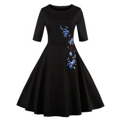 SHARE & Get it FREE   Half Sleeves Floral Embroidered Vintage DressFor Fashion Lovers only:80,000+ Items • FREE SHIPPING Join Twinkledeals: Get YOUR $50 NOW!
