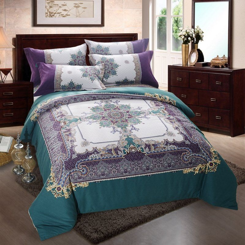 Dark Teal Eggplant Purple And Beige Boho Style Moroccan Pattern Western Themed Full Queen Size Bedding Bedspread Purple Bedding Bedding Sets Purple Bedrooms