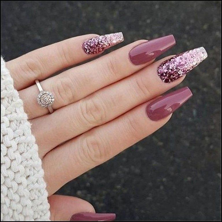40 Inexpensive Glitter Nail Designs Ideas To Rock This Year Winter Nails Acrylic Coffin Nails Designs Fall Nail Art Designs