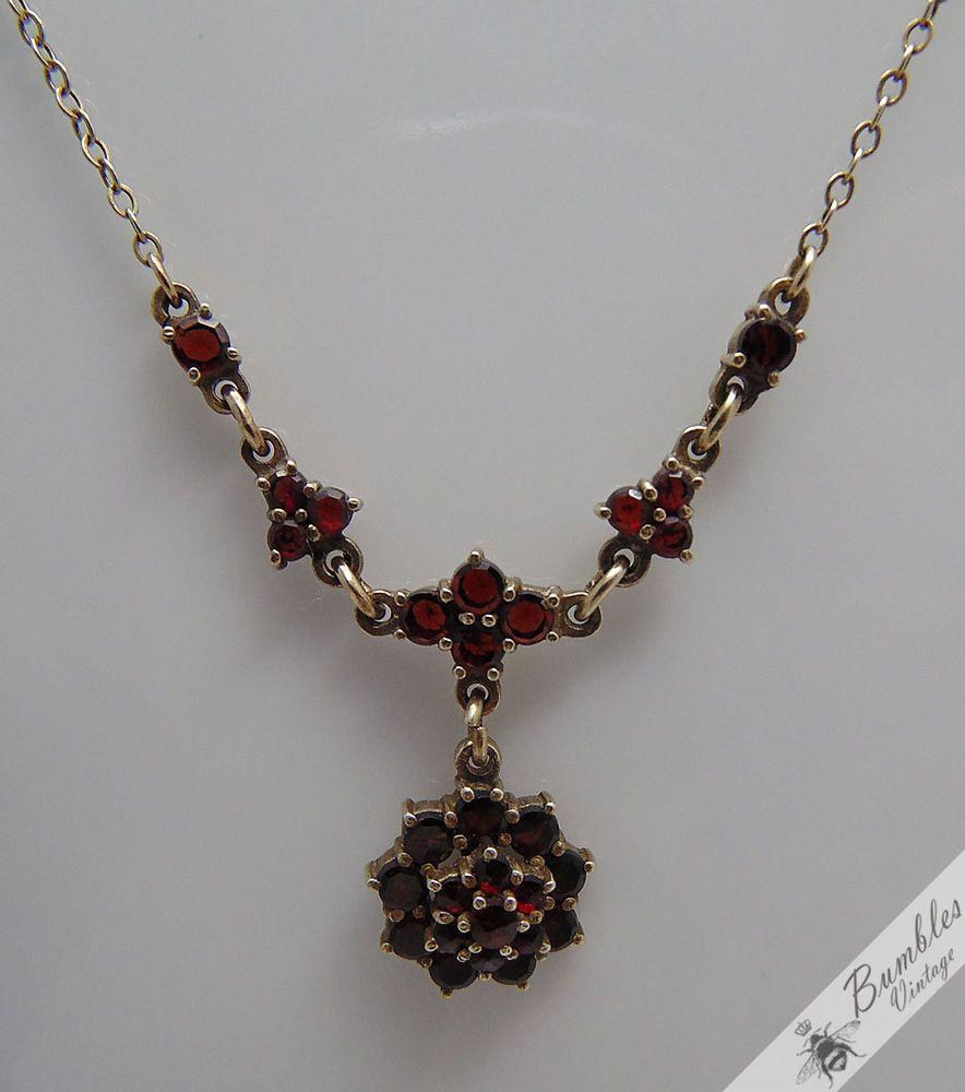 Sterling Silver Bohemian Garnet Gold Wash Vermeil Necklace Czech European c1960