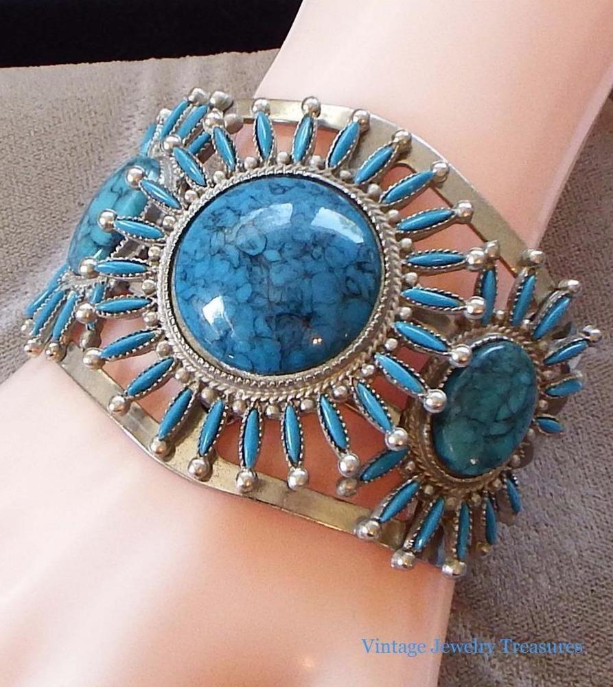 Vintage faux turquoise petite point design silver tone cuff bracelet