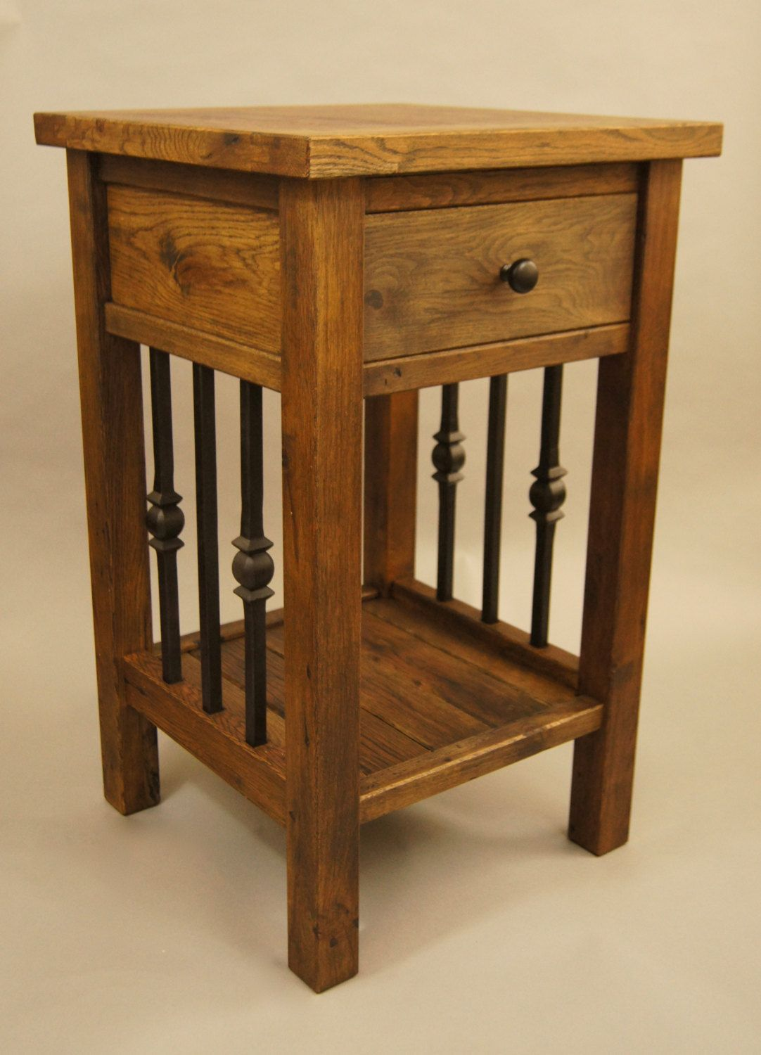Solid Reclaimed Oak And Cast Iron Bedside Table With Drawer By