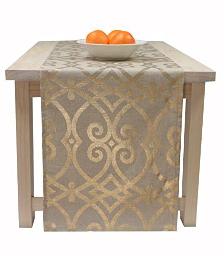 Awesome Gold And Beige Table Runner, Table Runner Christmas Holiday Fall  Thanksgiving 72 Inches, 90 Inches, 108 Inches, 120 Inches Long