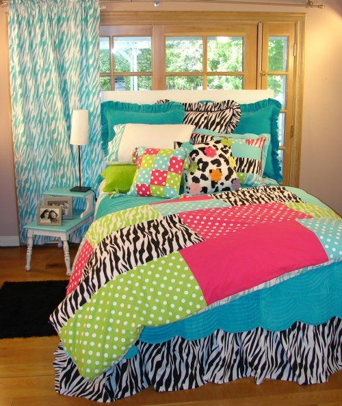 Bright multicolored patch zebra print girls bed queen set for Bright teenage bedroom designs