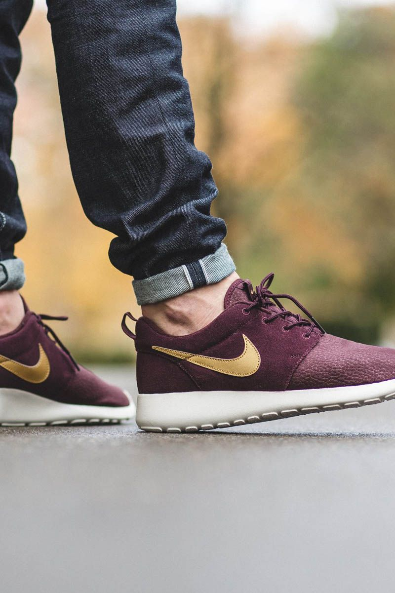 newest 54006 8da1d NIKE Roshe One in  mahogany suede uppers, a white midsole   a  metallic  swoosh.  premium  sneakers