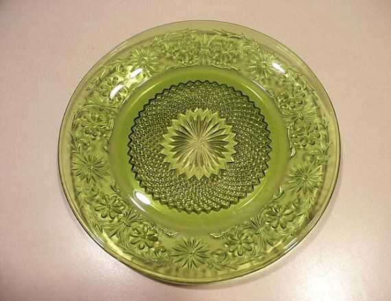 Vintage Indiana Glass Daisy Pattern Green Depression Glass Plate Impressive Green Depression Glass Patterns