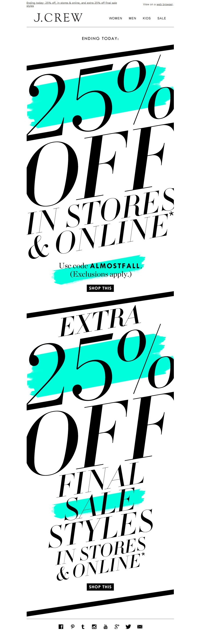 newsletter J.Crew 08.2014 The only thing these sales are