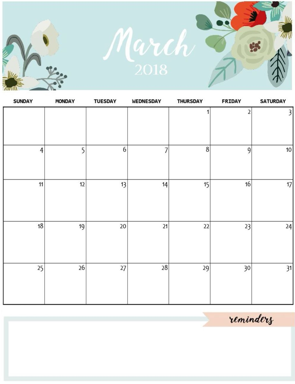 cute march 2018 calendar to print printable calendario march