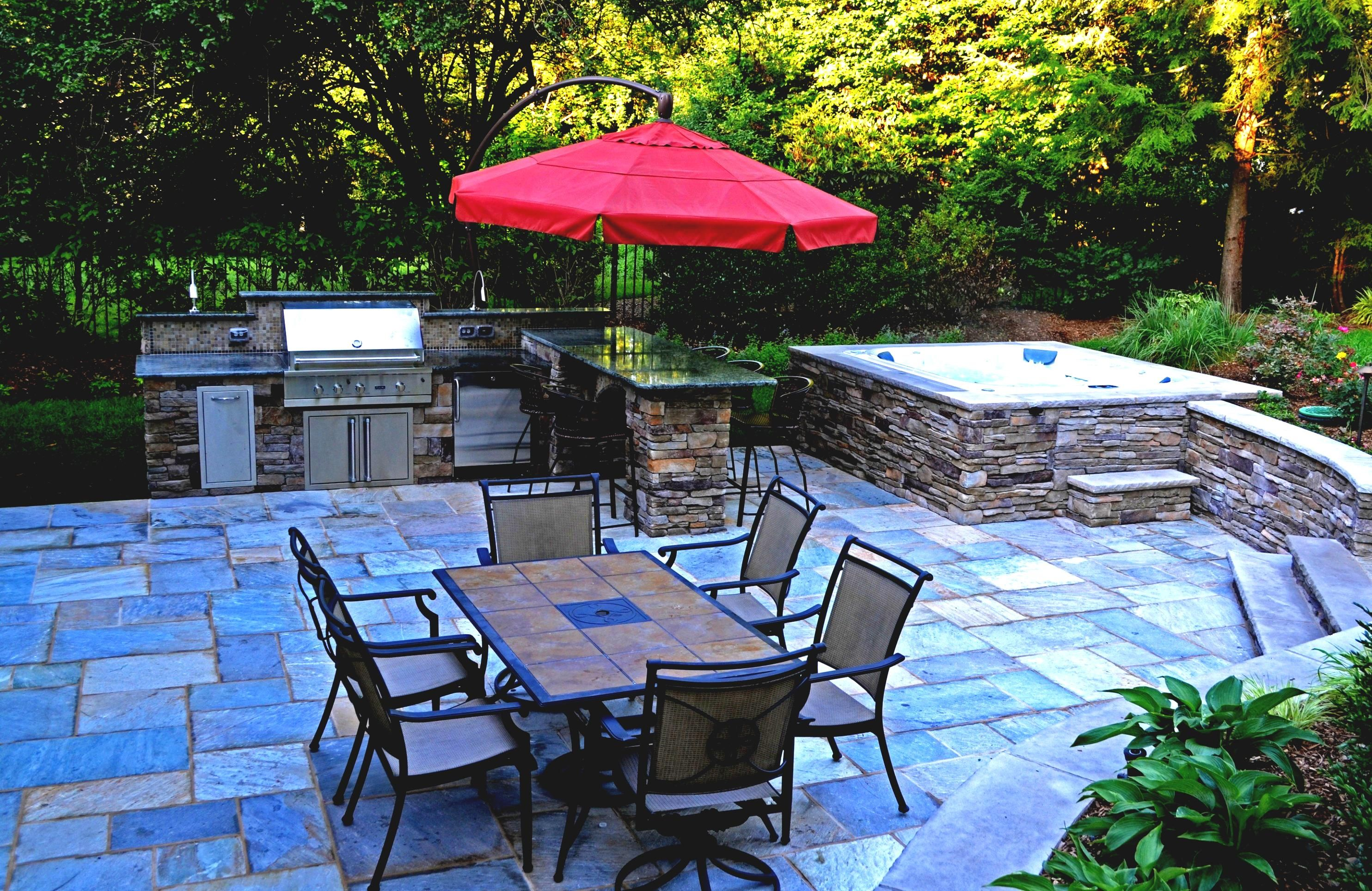 Backyard Patio Ideas With Hot Tub And Outdoor Living Furniture