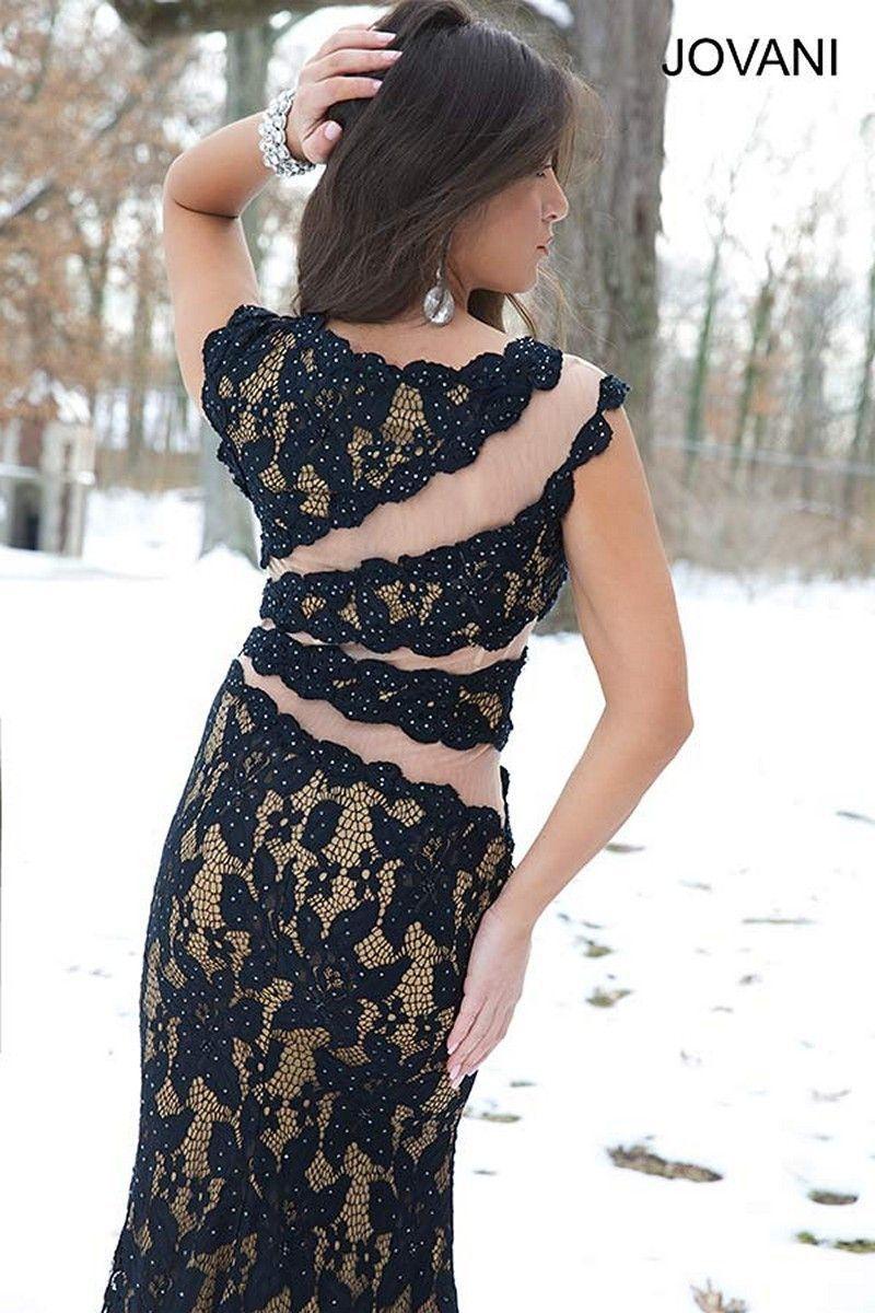 Jovani in stock black sz lace jeweled cap sleeve prom dress