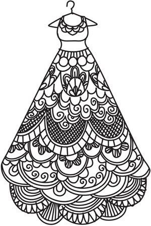 fanciful dress coloring page that would make a great embroidery pattern all white stitching