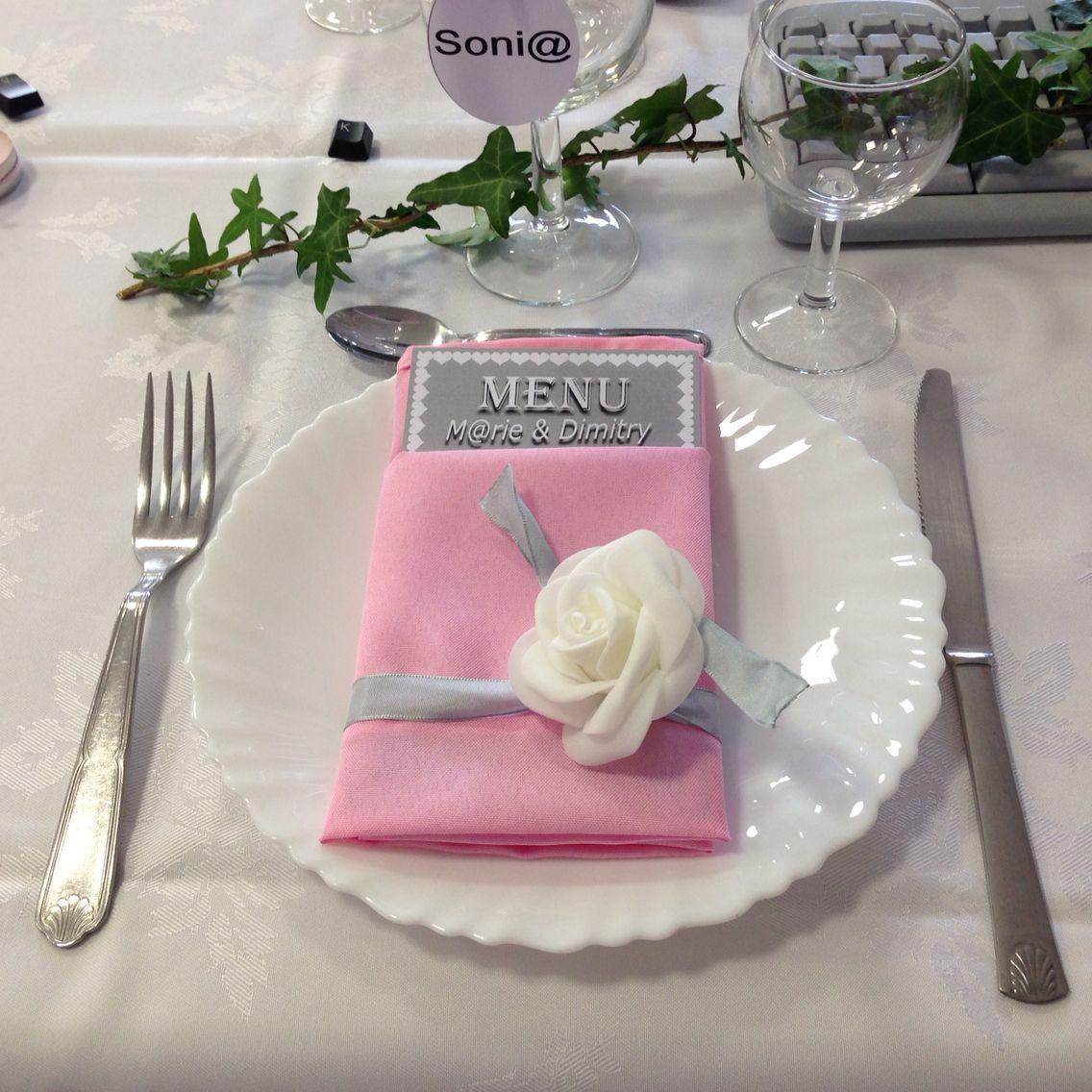 Pliage Serviette Rose Et Blanc Thème Internet Mariage Thème