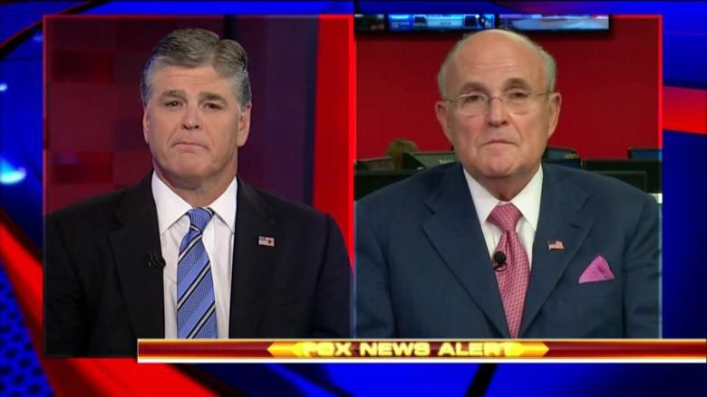 Image result for photos of giuliani in interview with sean hannity