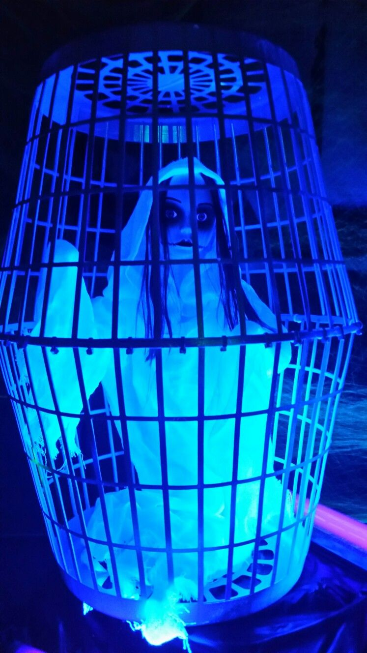 black light halloween prisoner cage decoration. the cage is made