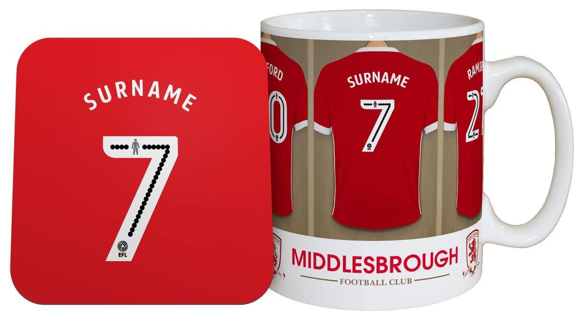 Personalised Middlesbrough Dressing Room Shirts Mug