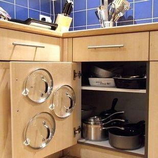 Store Pot Lids Like A Genius Using Adhesive Hooks Diy Kitchen