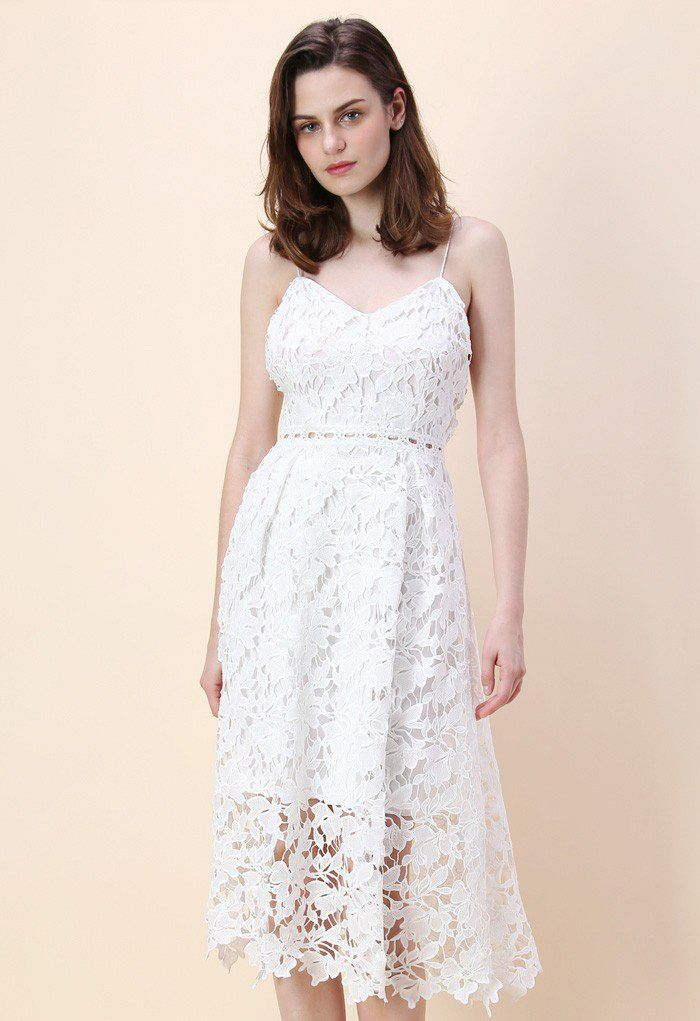 Looking fab isn't rocket science when you've got this ingenious crochet cami dress that boasts a sheer crochet lace hemline, spaghetti straps and a neutral white hue that makes it perfect for spring.  - Full floral crochet finished - Cami straps - Scrolled hemline  - Concealed back zip closure - Lined - 100% polyester - Hand wash  Size(cm)Length  Bust  Waist   S                 120      80     &nb...