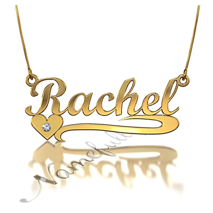 Rachel Heart Name Necklace With Diamonds In 10k Yellow Gold 239 Namenecklace Personalizedjewelry Name Necklace Necklace Gold Plated Necklace