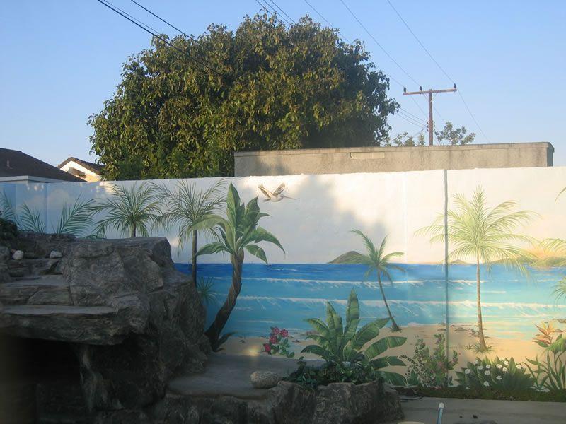 Outdoor Beach Murals Beachfront Wall With Images Beach Mural