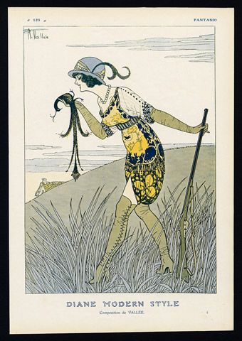 Fantasio Armand Vallee 1912 Diane Modern Style Huntress illustrated by Armand Vallée | Hprints.com
