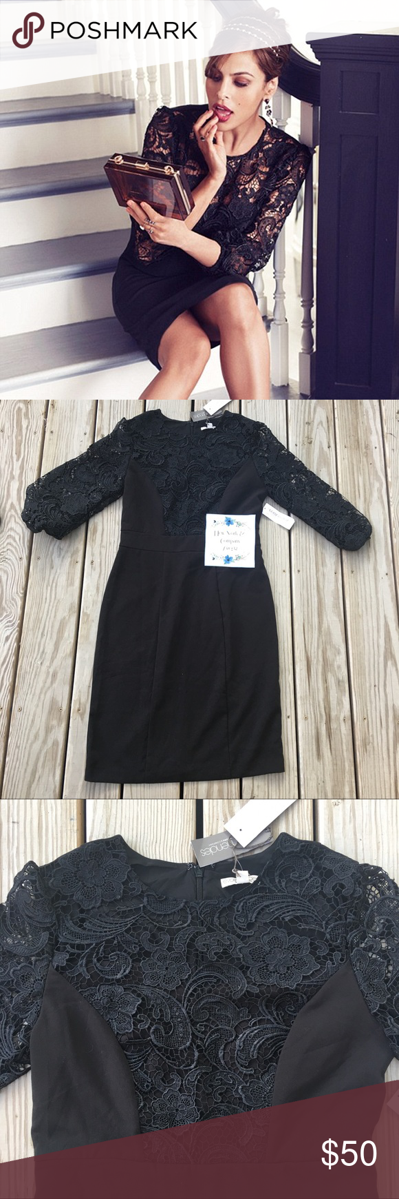 NWT NY & Co Eva Mendez Black Lace Cocktail Dress Stunning! New w/ Tags New York & Company Eva Mendez Size 12 Black Lace Cocktail Dress. Classy- very 50s. Perfect condition. Curve hugging, but definitely enough room for bust and hips. Gorgeously detailed lace arms and bodice. Perfect for holiday parties, wedding, or other special event. Feel free to ask questions, see more pictures, etc. Willing to bundle for discount (just ask! ☺️). No trades. Whoever gets this dress is a lucky lady! ☺️ New…