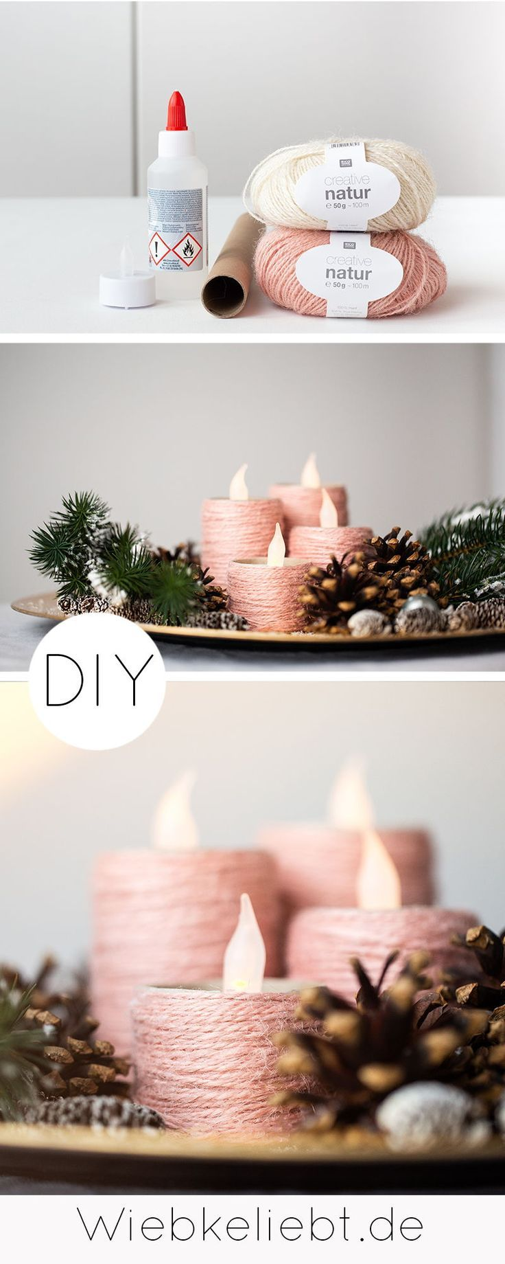 Photo of Craft idea for a DIY upcycling advent wreath to make yourself for Christmas from cardboard rolls and