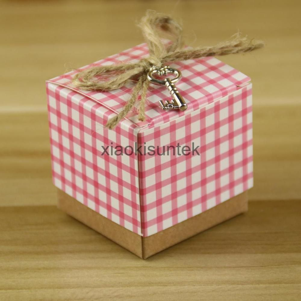 50Pcs Pink Cute DIY Square Wedding Favors Baby Shower Boxes Candy ...