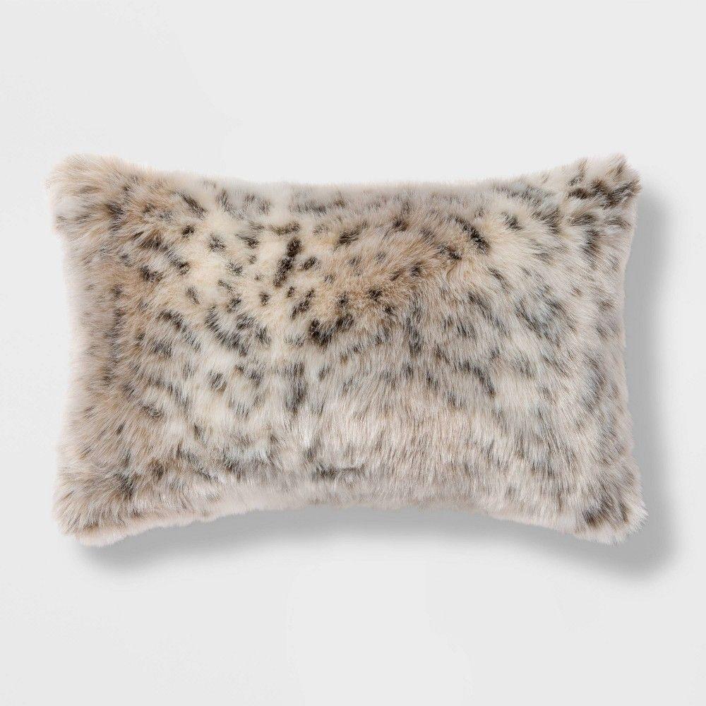 Oblong Faux Fur Decorative Throw Pillow Animal Print Threshold Decorative Throw Pillows Throw Pillows Decorative Throws