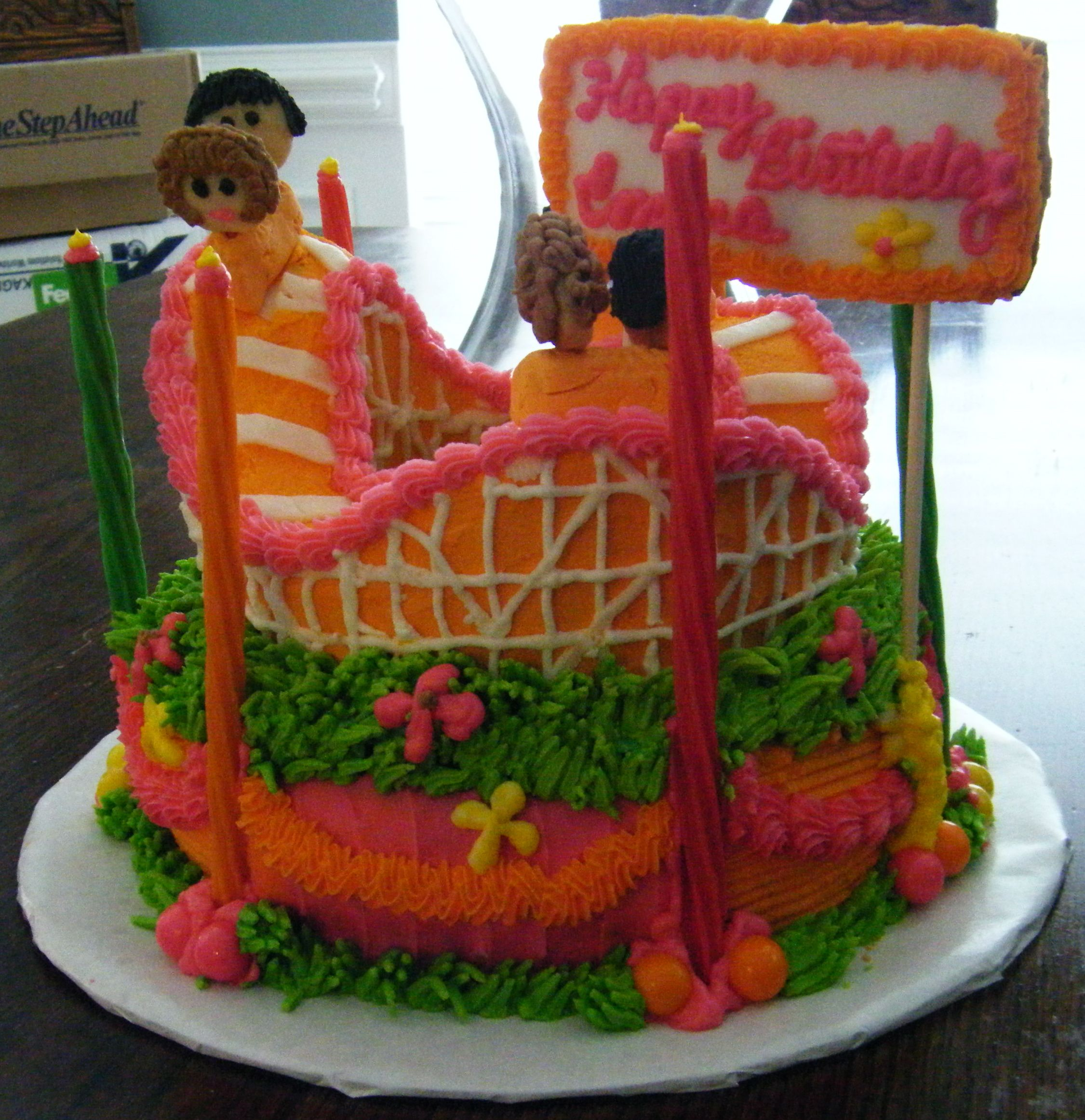 Roller coaster cake for a party at a theme park.   Roller ...