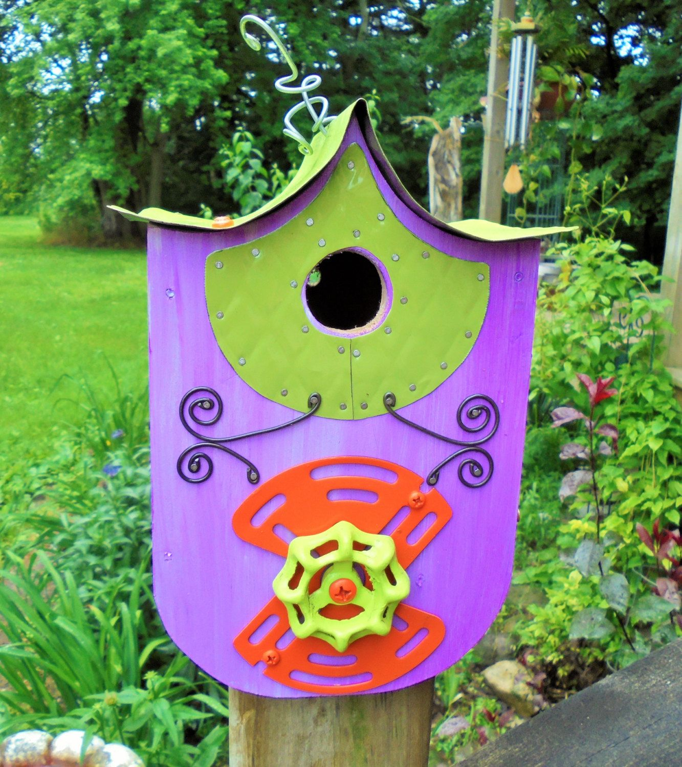 Brightly Colored Birdhouse, Purple, Orange and Key Lime Green, Metal Roof, Easy Open Clean Out, Wrens or Chickadees, Whimsical, Recycle by Imperfetions on Etsy
