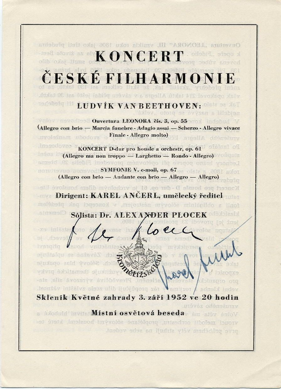 Renowned Czech Conductor Karel Ancerl Autographed Concert Program