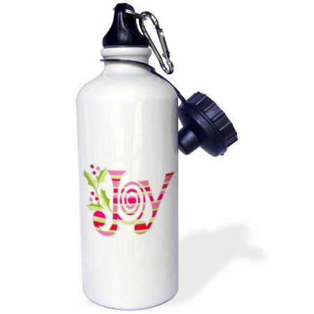 3dRose Pink and Green Christmas Joy, Sports Water Bottle, 21oz, White