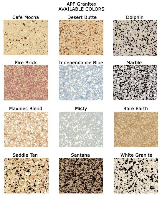 Epoxy Floors Color Chart Garages Pinte
