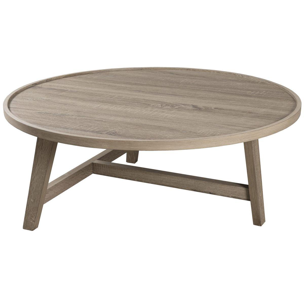 Table Basse Ronde 90cm Bois Naturel Style Contemporain Industriel Landaise Table De Salon Table Basse Ronde Table De Salon Ronde